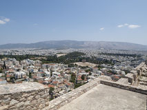 A view of the city of athens. Looking down at the city of athens from up above Royalty Free Stock Images