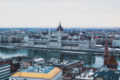View of the city. Budapest Hungary, tilt-shift effect. View of the city on the background of grey sky. Budapest Hungary, tilt-shift effect stock photos