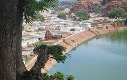 View of city from Badami Cave temples, Karnataka, India Royalty Free Stock Photos