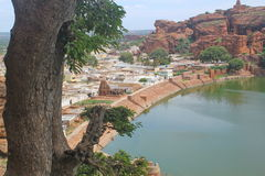 View of city from Badami Cave temples, Karnataka, India Stock Image