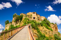 View of the city Bagnoregio on the hill, Tuscany Royalty Free Stock Images