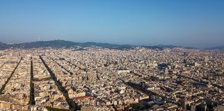 Barcelona city from air. A view of the city of Barcelona from the air royalty free stock photos