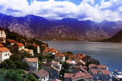 The view of the city in the Bay. Houses with red roofs Royalty Free Stock Image