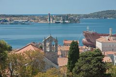 View of the city and the bayl. Pula. Croatia Royalty Free Stock Photos