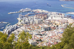 View of the city below, the ocean and the beach from the height of the Rock of Gibraltar Royalty Free Stock Photography