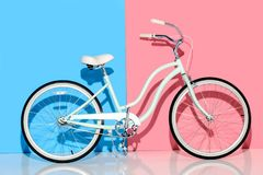 View of city bike on pink Stock Photo