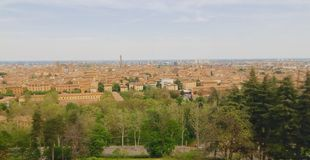 Bologna capital Emilia Romagna, Italy. A view of the city of Bologna, the capital of the region of Emilia Romagna in northern Italy, the city is called the stock photography