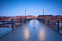 View on city Bremen from bridge in dusk Royalty Free Stock Photos