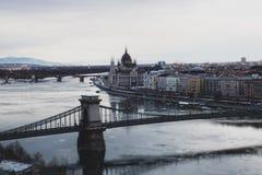 View of the city. Budapest Hungary, tilt-shift effect. View of the city Budapest Hungary in winter, tilt-shift effect stock image