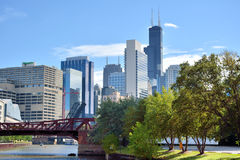 View of city buildings and Chicago river. View of city buildings and bridge on Chicago river, Chicago, Illinois, United States.nPhoto taken in October 6th, 2014 Royalty Free Stock Image