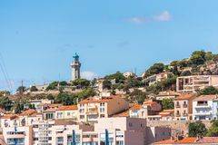 View of city buildings, Sete, France. Copy space for text. stock image