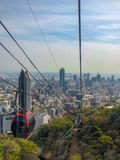 View of the city from cable car stock photography