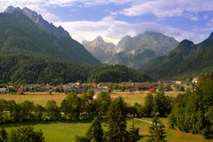View on a city called Kranjska gora Stock Photo
