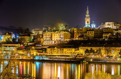 View of the city center of Belgrade at night Royalty Free Stock Images