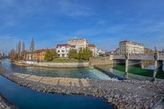 View of the city center with Crisul Repede river  in the foregro Royalty Free Stock Photography