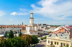 View of city center and city hall tower of western ukrainian cit Royalty Free Stock Image