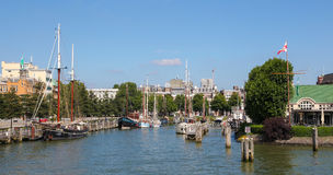 View on the city center by the Nieuwe Maas in Rotterdam Royalty Free Stock Photo