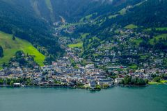 View of the City Center of Zell am See. Tourist Center in Hohe Tauern, Austria stock photography