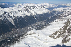 View of the city of Chamonix.Peak Aiguille du MidiFrance. Altitude: 3842 meters Royalty Free Stock Images