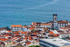 The view of the city from the chapel at the ocean from the top - portugal stock image