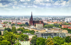 View on the city and the church in Wroclaw Stock Photos