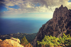 View of the city from a cliff at sunset. Crimea landscape. Natur Stock Photography