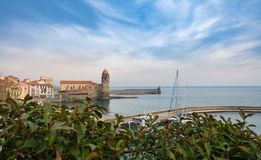 View of the city of Collioure town coast, southern France stock images
