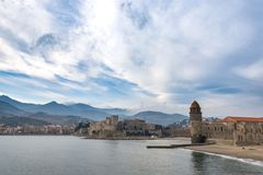 View of the city of Collioure town coast, southern France stock photography