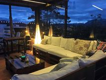 Outdoor Rooftop Patio at Night stock images