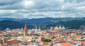 View of the city of Cuenca, Ecuador. With it's many churches, on a cloudy day Royalty Free Stock Photos