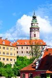 View of city in Czech Krumlov, Czech Republic, church spire, bui Royalty Free Stock Photography