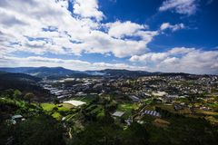 View of the city Dalat, Vietnam with mountains stock images