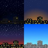 View of the city at different times of day. Royalty Free Stock Images
