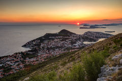 View of city of Dubrovnik at sunset Stock Image
