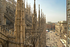 View of the city from the Duomo Milan, Italy, sunny day Stock Image