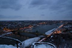 View of the city at dusk. Budapest Hungary, tilt-shift effect.  stock image