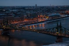 View of the city at dusk. Budapest Hungary, tilt-shift effect.  royalty free stock photo