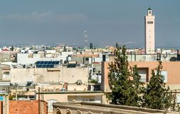 View of El Jem city from the Roman amphitheater, Tunisia. Royalty Free Stock Photography