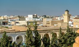 View of El Jem city from the Roman amphitheater, Tunisia. Stock Image