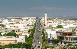 View of El Jem city from the Roman amphitheater, Tunisia. Stock Photo