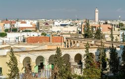 View of El Jem city from the Roman amphitheater, Tunisia. Stock Images