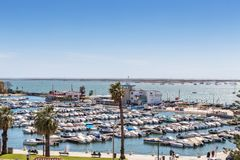 View of the city of Faro from the top, to the marina. Royalty Free Stock Photos