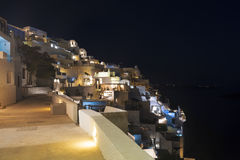 View of the city of Fira at night, Santorini Stock Photo