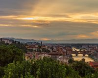 View of the city of Florence, Italy under sunset, viewed from Pi stock image