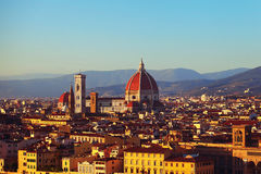 View of the city of Florence. And mountains stock images