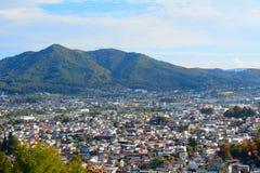 View of the city of Fujiyoshida, Japan stock images