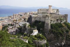 View on the city of Gaeta and the italian coastline. royalty free stock images