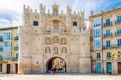 View at the City gate Arco de Santa Maria in Burgos - Spain royalty free stock image