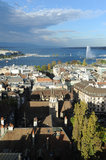 View at the city of Geneva on lake Leman Royalty Free Stock Image