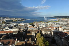 View at the city of Geneva on lake Leman Stock Images